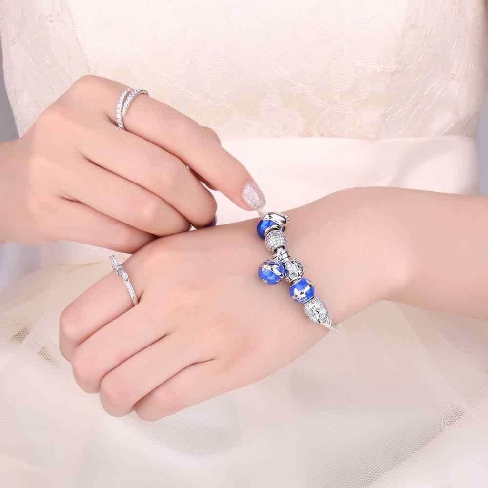 Jewelrypalace Bà Thế Giới Phụ Nữ Quả Cầu Men Xanh Bản Đồ Đẹp Tinh Tế Nữ Bạc 925 Hạt Charm Phù Hợp Với Vòng Tay