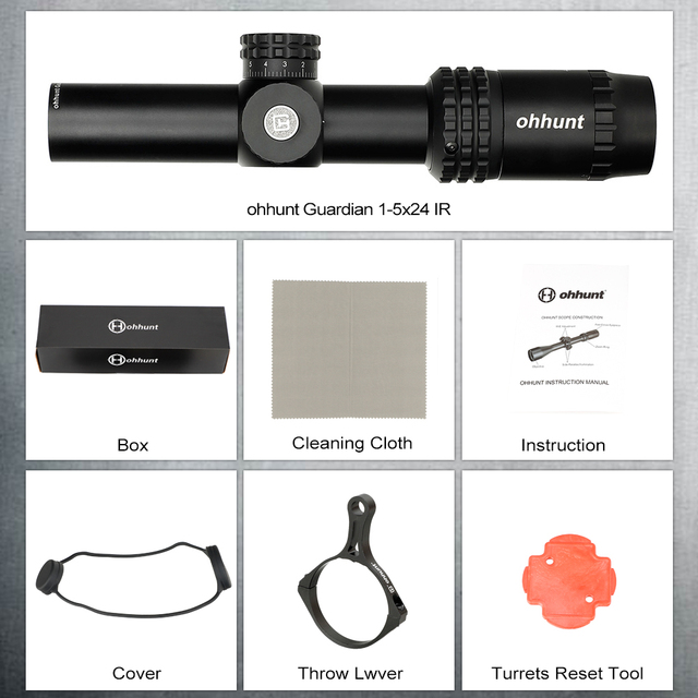 ohhunt Guardian 1-5X24 IR Hunting Thin Edge Riflescopes Glass Etched Reticle RG Illumination Turrets Lock Compact Shooting Scope 6