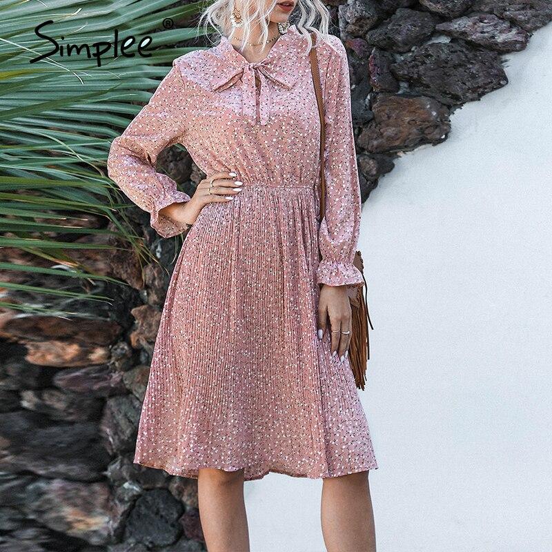 Simplee Elegant Floral Print Women Midi Dress V Neck High Waist Female Pleated Dresses Spring Summer Holiday Ladies Dresses 2020