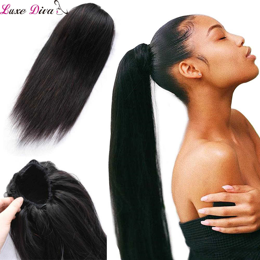 Luxediva Hair Brazilian Straight Ponytail 100% Human Hair Drawstring Ponytail With Clips in For Women Non Remy Hair 1 Piece