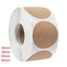 100/500 pçs papel kraft adesivos em branco redondo etiquetas para presente feito à mão tag papel diy envelope selagem adesivos de papelaria