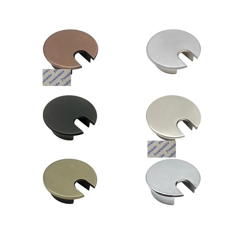 Découpe en alliage de Zinc 35mm | 2 pièces, pour PC Table de bureau, œillet supérieur, câble traversant, couvercle de rangement, Bronze rouge brossé mat noir