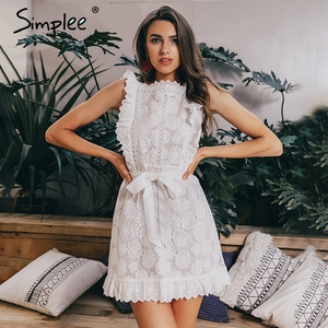 Image 1 - Simplee Elegant embroidery lace women dress Hollow out sashes ruffle white summer dress Slim sexy party lady dress vestidos 2019