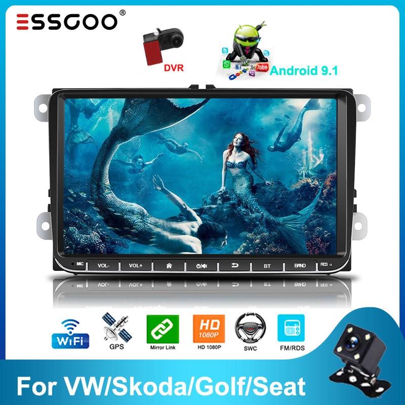Essgoo 2din Android 9.1 Car Radio Bluetooth 9'' 2GB/1GB RDS AM DAB Autoradio GPS Navigation WIFI Multimedia Player For VW/Skoda