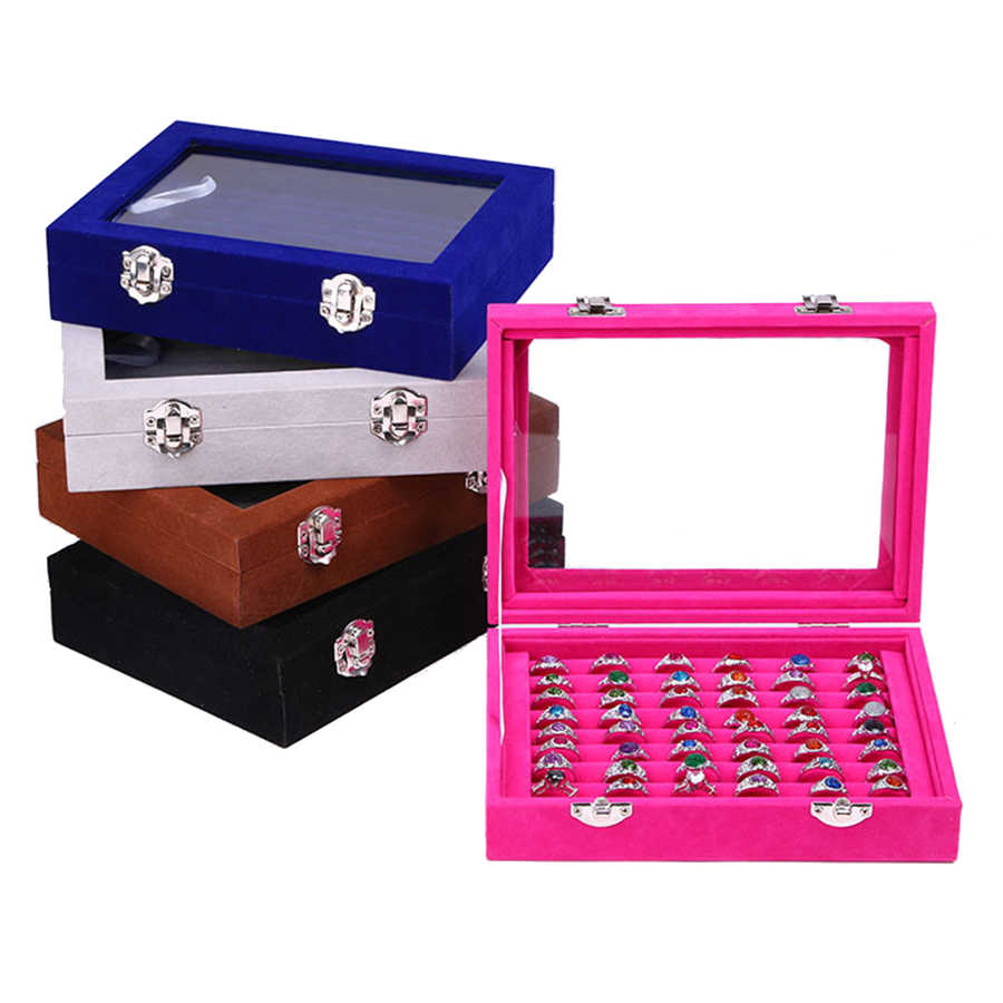 2018 Newest 8 Booths Velvet Carrying Case with Glass Cover Jewelry Ring Display Box Tray Holder Storage Box Organizer