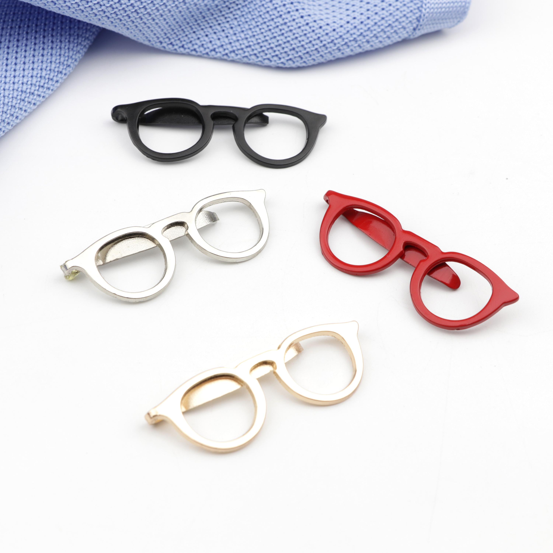 4 Color Fashion Metal Glasses Tie Clip Men's Suit Dress Shirt Collar Mens Commercial Necktie Clips Pin Clothing Accessories