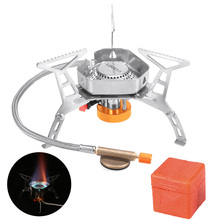 Lixada Camping Gas Burner Windproof Foldable Camping Stove Stainless Steel Outdoor Picnic Cookware Camping Equipment With Box