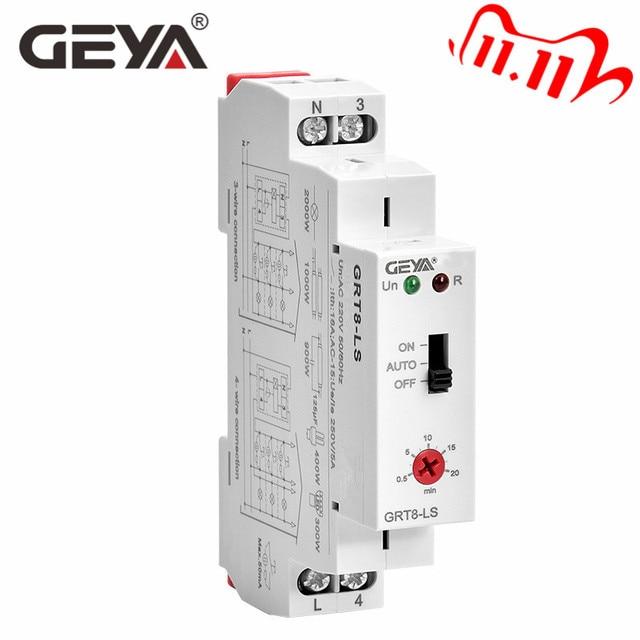 Ücretsiz kargo GEYA GRT8 LS Din demiryolu merdiven zaman anahtarı 230VAC 16A 0.5 20 dakika ışık gecikme anahtarı