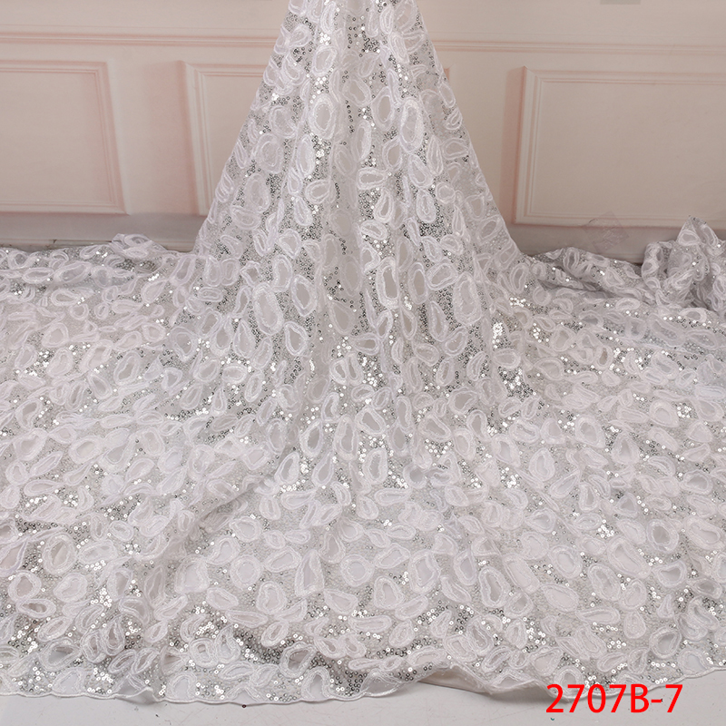 African Lace Fabric 2019 High Quality Lace,Hot Sale Sequin Lace Fabric,French Embroidery Laces For Wedding Dresses KS2707B-7