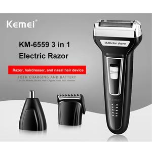 Image 3 - Kemei 3 ב 1 גילוח לגברים USB נטענת האף שיער גוזם גברים של מכונת גילוח חשמלי תספורת מכונת