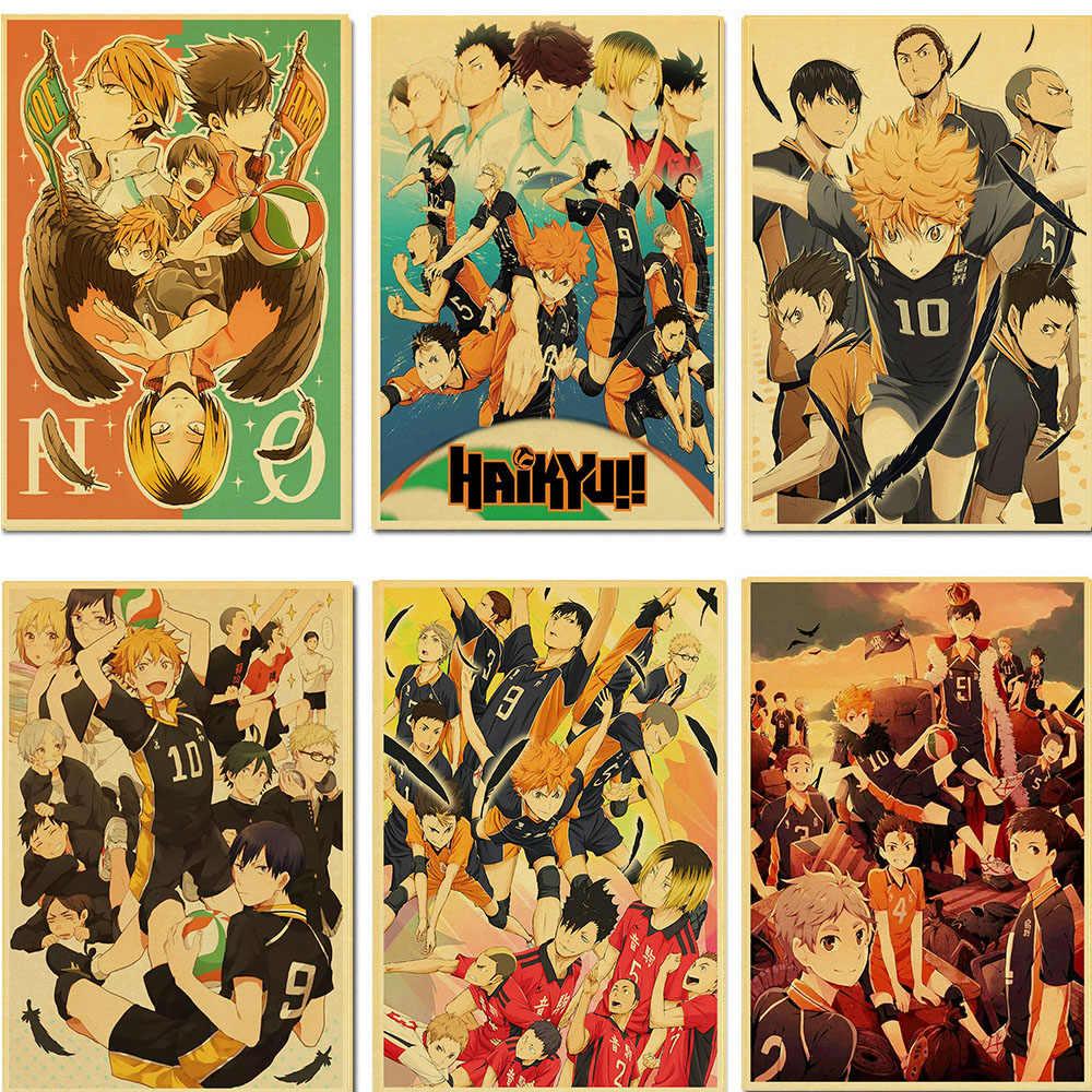 Vintage japon animesi Haikyuu!! Retro Poster Kraft kağıt yüksek kaliteli sanat baskı duvar çıkartmaları ev/bar dekorasyon