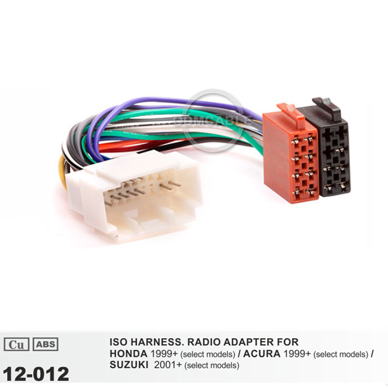 12-012 ISO Radio Adapter for Honda Acura Suzuki Fiat Nissan Opel Wiring Harness Connector Leads Cable Plug Adaptor(China)