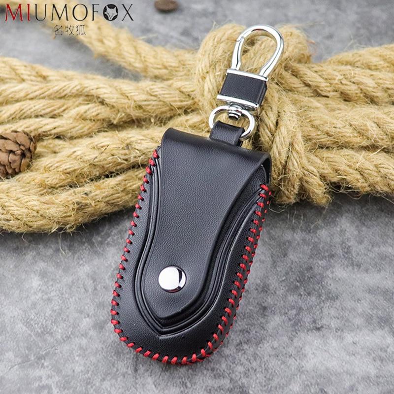 Genuine Leather Men Car Key Wallet Unisex Housekeeper Women Keys Organizer Keychain Cover Zipper Keys Case Bags Pouch Key Holder
