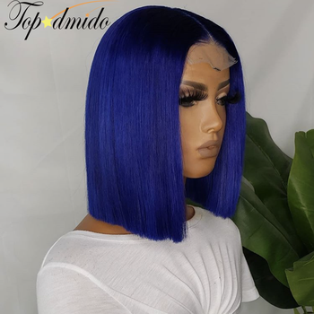 TOPODMIDO Blue Color Bob Cut Wigs For Women Peruvian Remy Hair 4x4 Closure Wigs with Baby Hair 13X1X6 Lace Front Human Hair Wigs 3