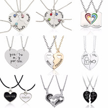 Romantico Best Friends Forever Collane di Strass BFF Pendenti Con Gemme E Perle Carino Cuore Spezzato Best Amici I Love You Gioielli Fatti A Mano Regali(China)