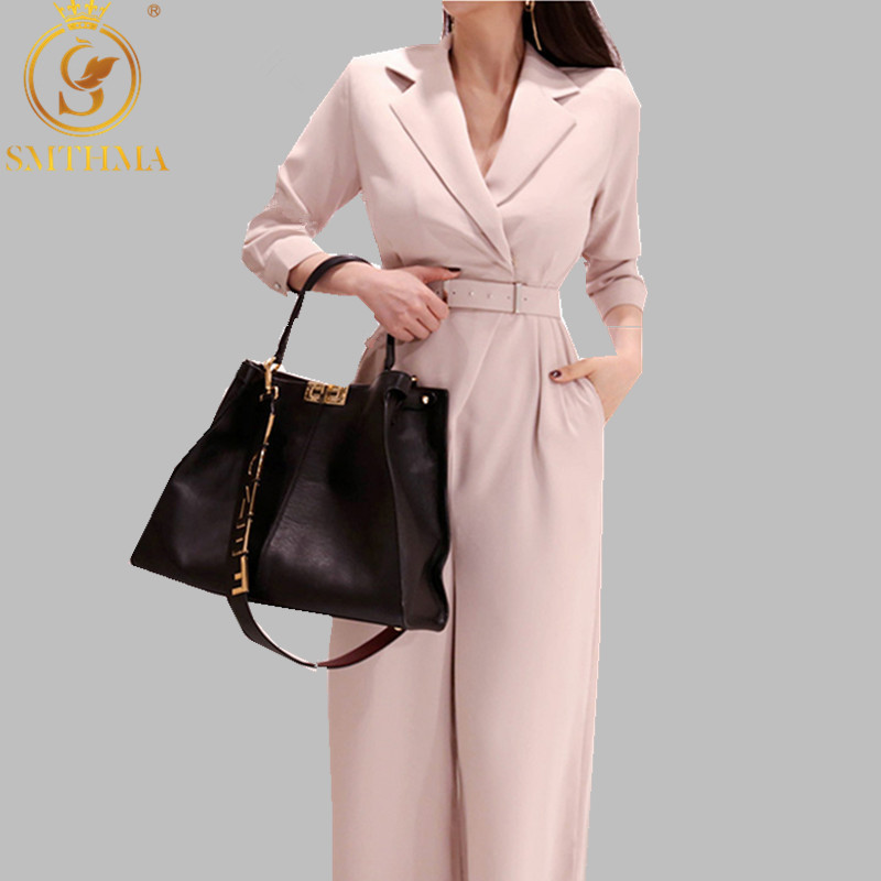 SMTHMA 2019 Spring Women Fashion Elegant Office Workwear Casual Jumpsuits Long Sleeve Wide Leg Romper With Belt