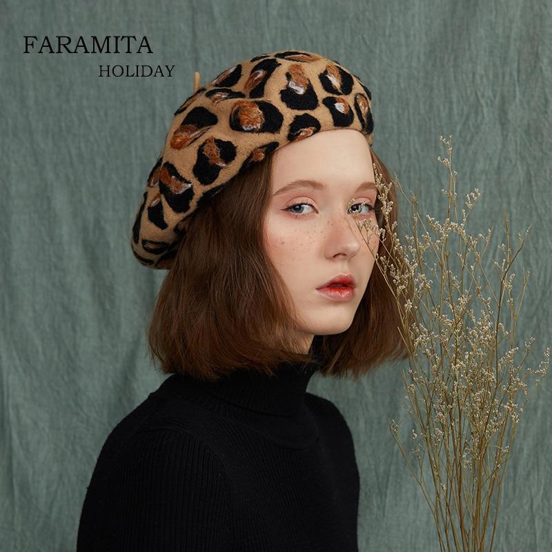 Faramita Holiday Leopard Pattern 100% Wool French Berets Handmade Painter Beret Sexy Hats Headwear Retro Vintage Girls Women Cap
