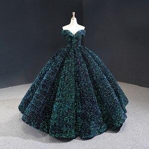 Image 3 - חתונת שמלת 2020 גברת Win יוקרה פאייטים סירת צוואר כדור שמלת נסיכה בלינג בלינג חתונת שמלת Vestido דה Noiva מותאם אישית גודל