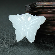 Natural White Jade Butterfly Pendant Necklace Chinese Hand-Carved Charm Jewelry Fashion Accessories Amulet for Men Women Gifts 1pc fashion chinese green jade cross pendant necklace hand carved charm jadeite natural jewelry amulet for men women gifts white