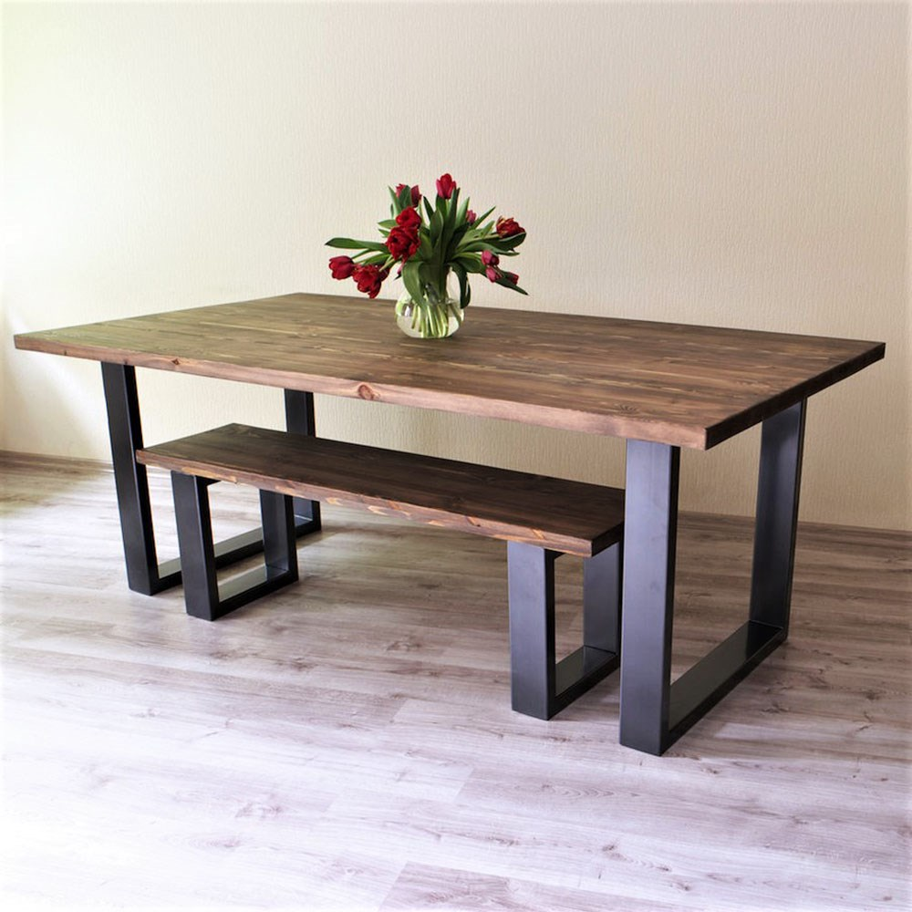 US $1783.92 20% OFF|Wooden dining table and bench set dining room  decoration wood furniture on AliExpress