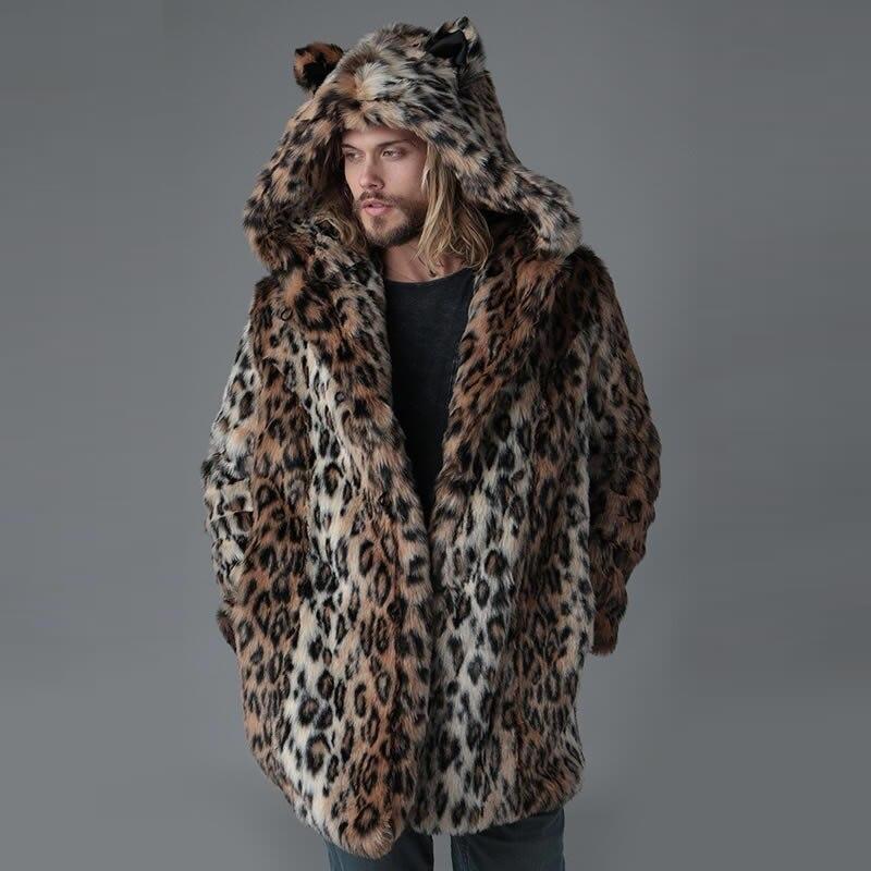 Welp Plus Size Leopard Faux Fur Coat For Men Fashion Winter Coat Men DZ-23