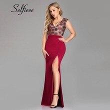 Sparkle Burgundy Dresses Mermaid Floral Sequined V-Neck Sleeveless 2019 High Split Women Sexy Sweet Summer