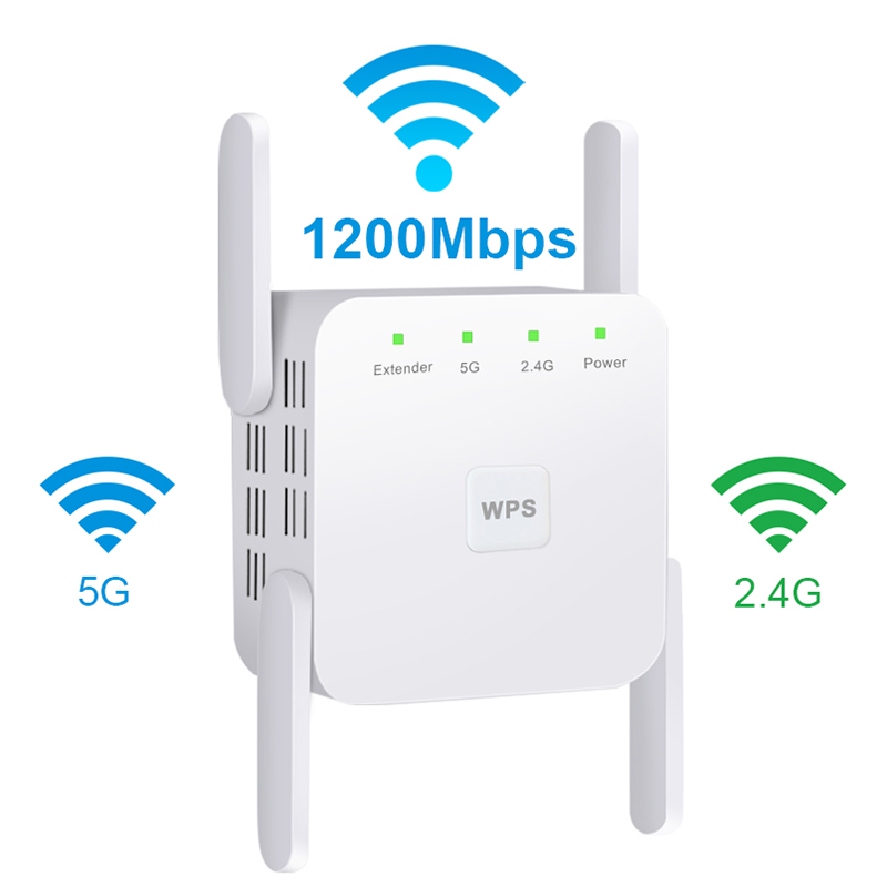 Wifi Repeater 5ghz Wifi Amplifier 2.4G 5G Wifi Extender 1200 Mbps Wi Fi Booster Wi-fi Signal Amplifier Wireless Wi-fi Repeater