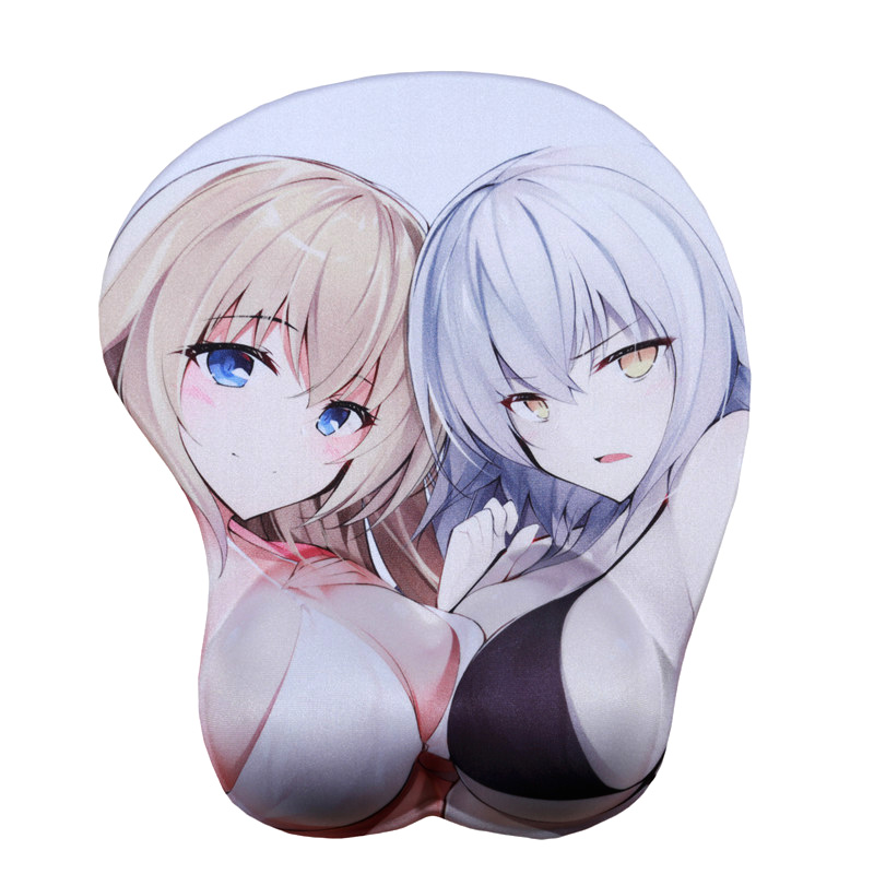 FFFAS 3D Wrist Rest <font><b>Mouse</b></font> <font><b>Pad</b></font> Mat Fate <font><b>Black</b></font> <font><b>White</b></font> of Arc Silica Gel Sexy Anime Girl Oppai Breast Gamer Mousepad for Laptop PC image