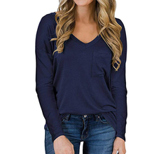 Pure Color Loose Casual Long Sleeve Pocket T-Shirt Top