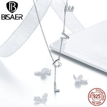 BISAER New Arrival 100% Real 925 Sterling Silver Love Letter  Pendant Necklace Making Fashion Jewelry Gift For Women HSN318 bisaer 100%real 925 sterling silver rose gold color heart apple sakura shape pendant necklace for women fashion gift hsn313