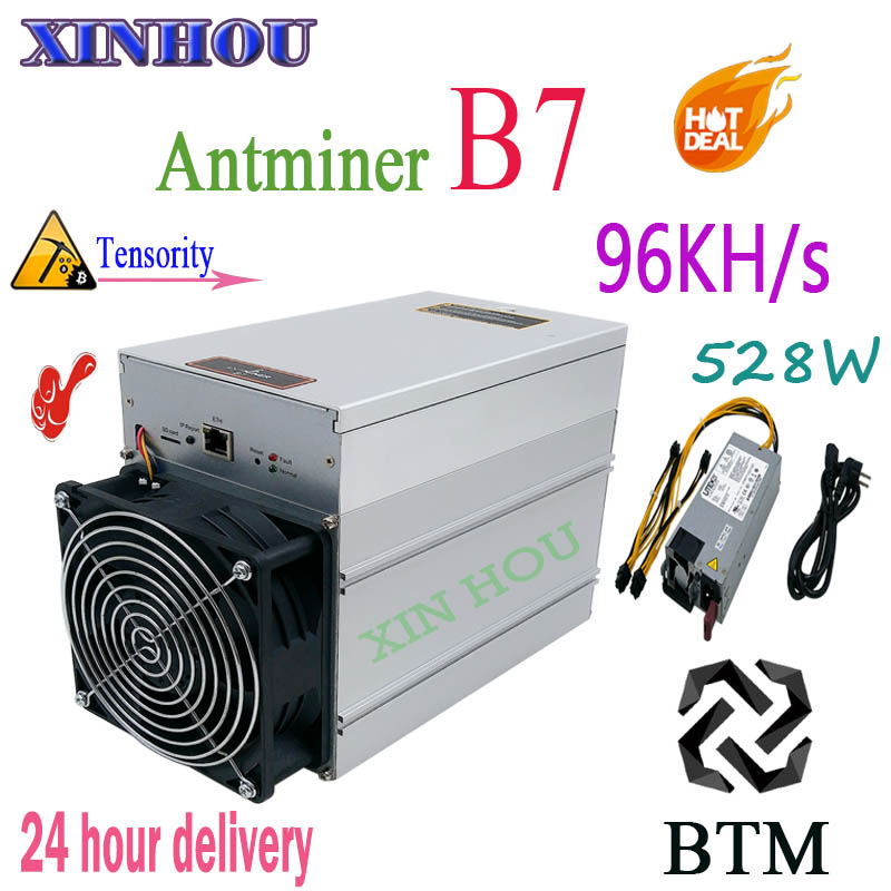 Antminer B7 96KH/s 528W BTM mineur avec PSU Asic Tensority Miner BTM minier mieux que Antminer S9 S9k S11 S15 T17 Z9 Z11 A9 M3x