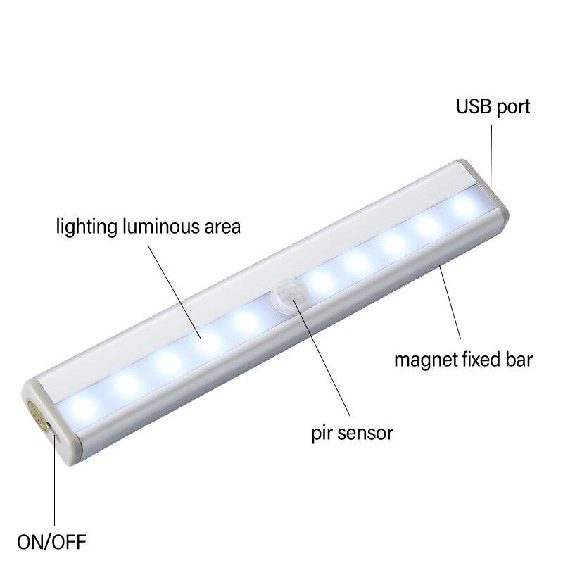 10/20 светодиодная подсветка под шкаф датчик движения лампа освещение для шкафа Шкаф Кухня USB зарядка ночник