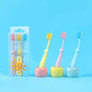 Silicone Toothbrush Soft-Bristled Children Dental-Care Teeth Baby for Cute 3pcs/Set