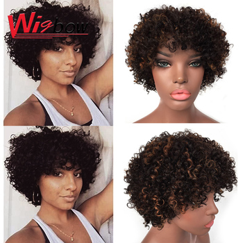 цена на Afro Kinky Curly Wig Ombre Colorful Mixed Brwon Black Wig Short Curly Wig Brazilian Human Hair Cheap Wigs With Free Shipping
