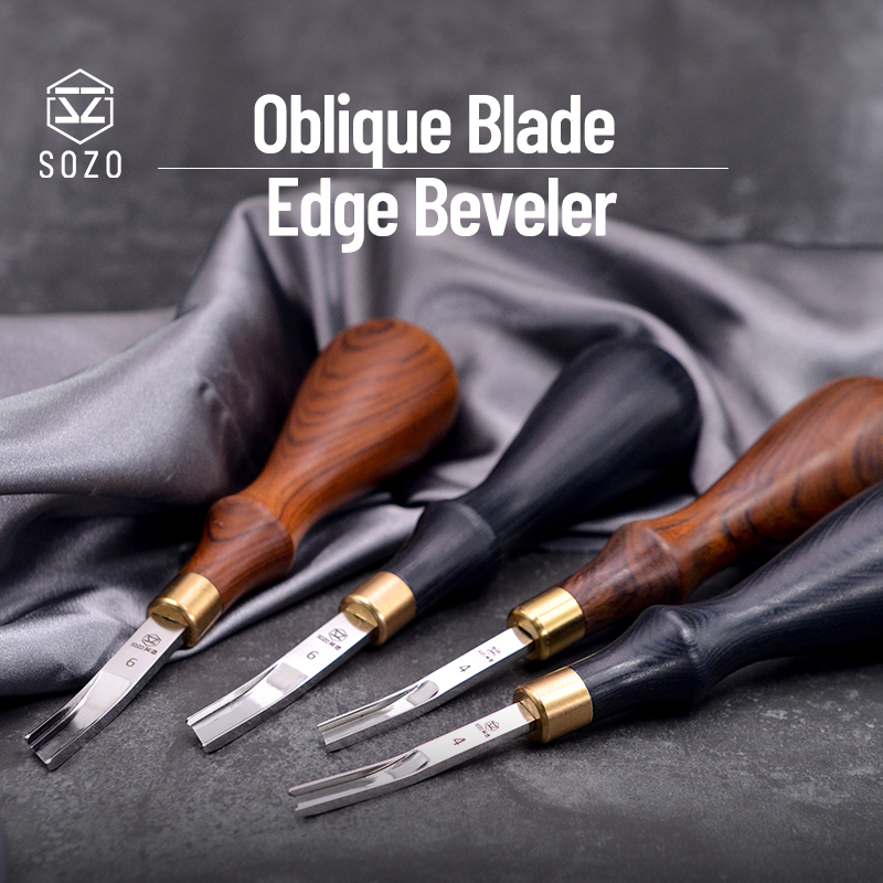SOZO Professional Oblique Blade Edge Beveler Leather Skiving Thinning 4mm/6mm Left/Right hand Sharp Craft Tools