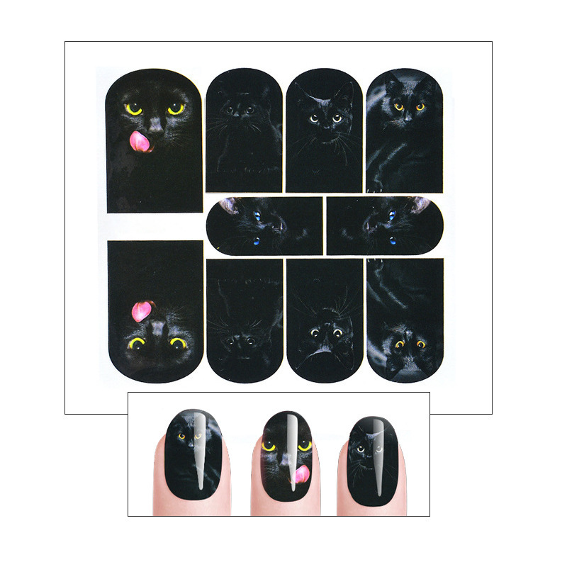 Nail Sticker Stick Completely South Korea Cartoon Animal Hipster Nail Decals Watermarking Black Cat Nail Sticker