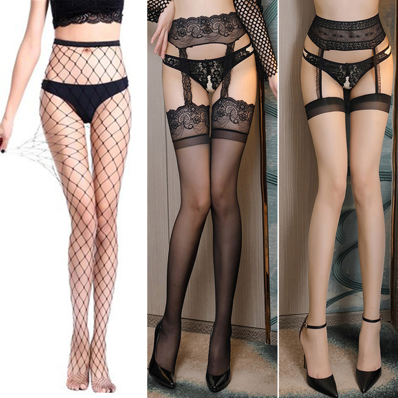 Lace Sexy Women Erotic Lingerie Female Lady Thigh High Stockings Fishnet Mesh Transparent Pantyhose Garter Stockings Tights