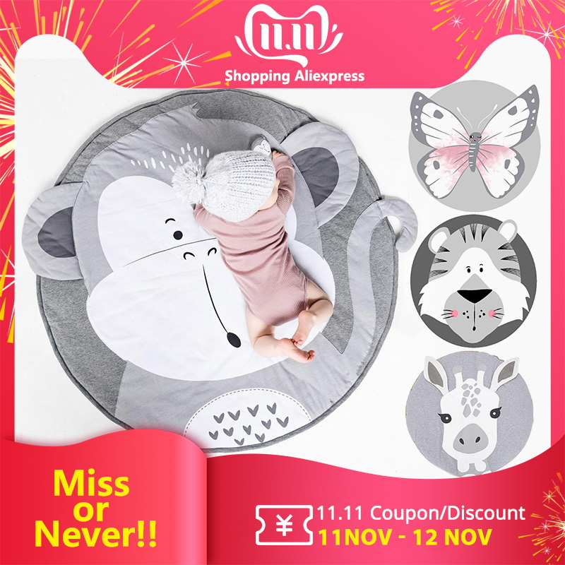 Baby Play Mats Cartoon Pad Toddler Kids Cotton Crawling Blanket Round Carpet Rug Toys Mat For Children Room Decor Photo Props