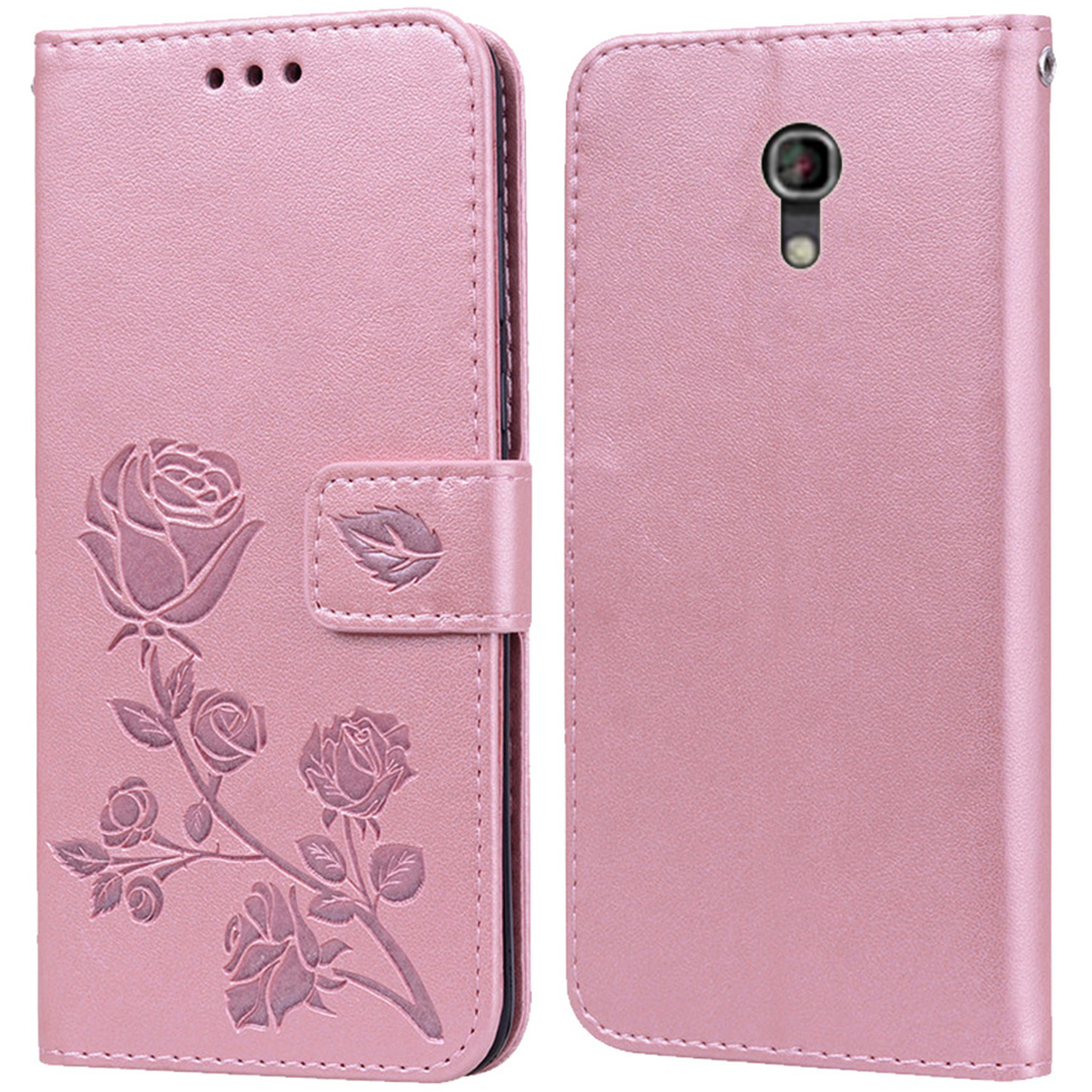 Luxury Leather Flip Book Case for Alcatel One Touch Pixi 4 5.0 4G 3G 5045D 5045X 5010D Rose Flower Wallet Stand Case Phone Cover image