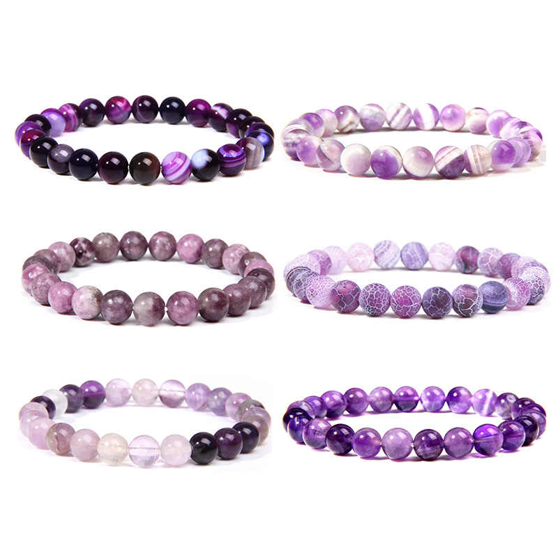 Natural purple Amethysts agates Chalcedony stone beads bracelet jewelry for women men femme homme purple gem stone bracelet gift