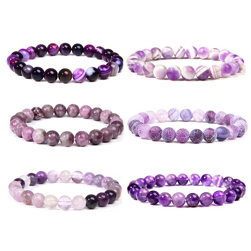 Natural purple Amethysts agates Chalcedony stone beads bracelet jewelry for women men femme homme purple gem stone bracelet gift