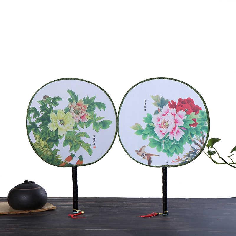 الصينية Vintage مروحة اليد المستديرة طباعة حفل زفاف الرقص هدية النمط الصيني الكلاسيكية النساء هدية مروحة صغيرة مستديرة الصينية