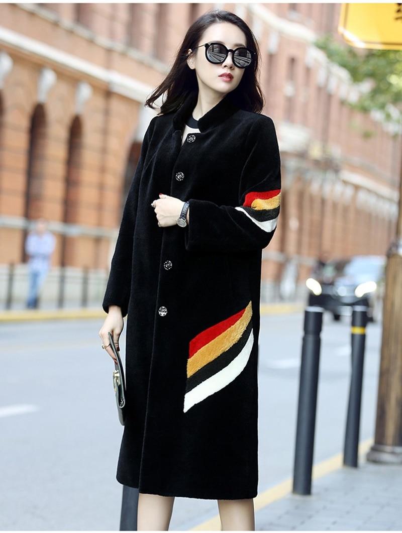 Winter 2020 Real Fur Coat Women Tops Plus Size 5xl Sheep Shearing 100% Wool Coat Long Jacket Overcoat Abrigo Mujer KJ542