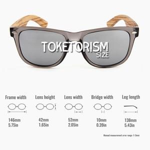 Image 4 - Toketorism 2019 zebra Wood sunglasses Polarized ebony wooden sun glasses Transparent Gray Frame for men women 1051