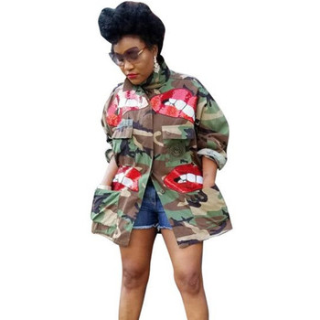 Autumn Winter Sequin Lip Camouflage Camo Jacket Coat Women High Neck Button-up Pockets Military Slim Streetwear Casual Outerwear