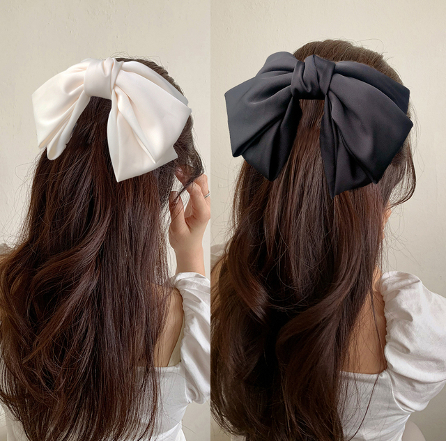 High Quatity Solid Color Big Bow Hairpins For Girl Popular Hair Clip For Women Sweet Two-layer Satin Hairgrip Hair Accessories 2