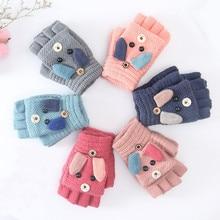 Зимние детские теплые перчатки От 6 до 12 лет, кашемировые вязаные перчатки для начальной школы, перчатки с половинными пальцами, рукавицы Мультфильмы для мальчиков и девочек