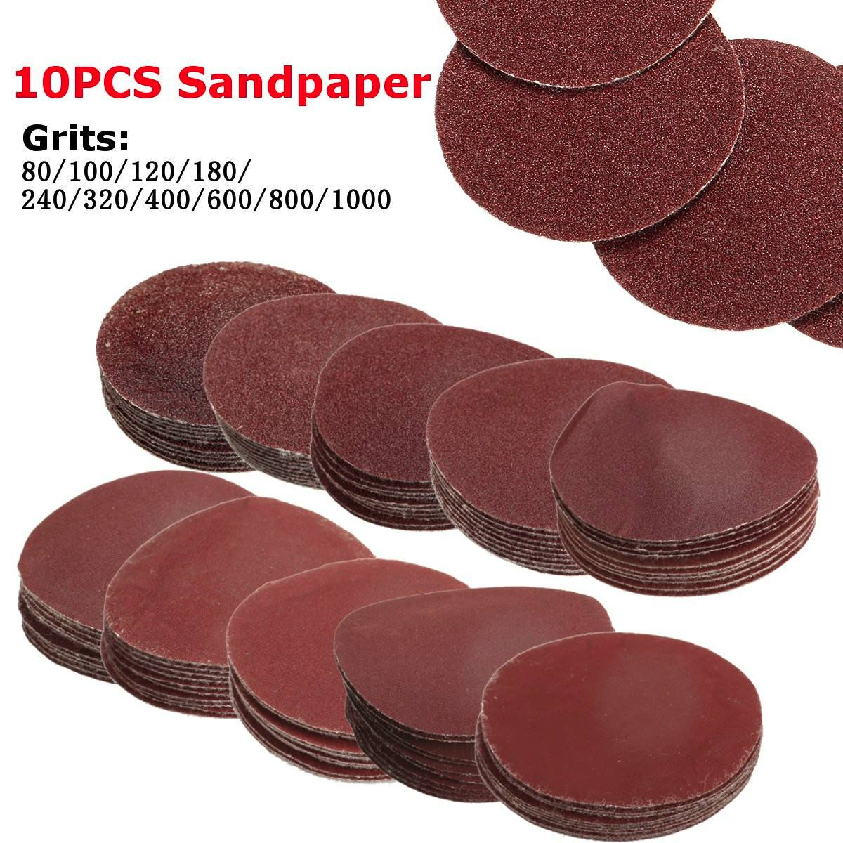 10Pcs/Set 80-1000 Grits 2inch 50mm Polishing Pad Sander Paper Sandpaper Sanding Discs Buffing Wheel Loop Sanding