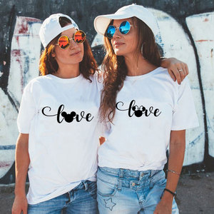 Bff Tshirts Women Fashion Graphic Flower Womens T-Shirt Cute Ear Girl Laides Tumblr Tee Hipster Female Couple T Shirt
