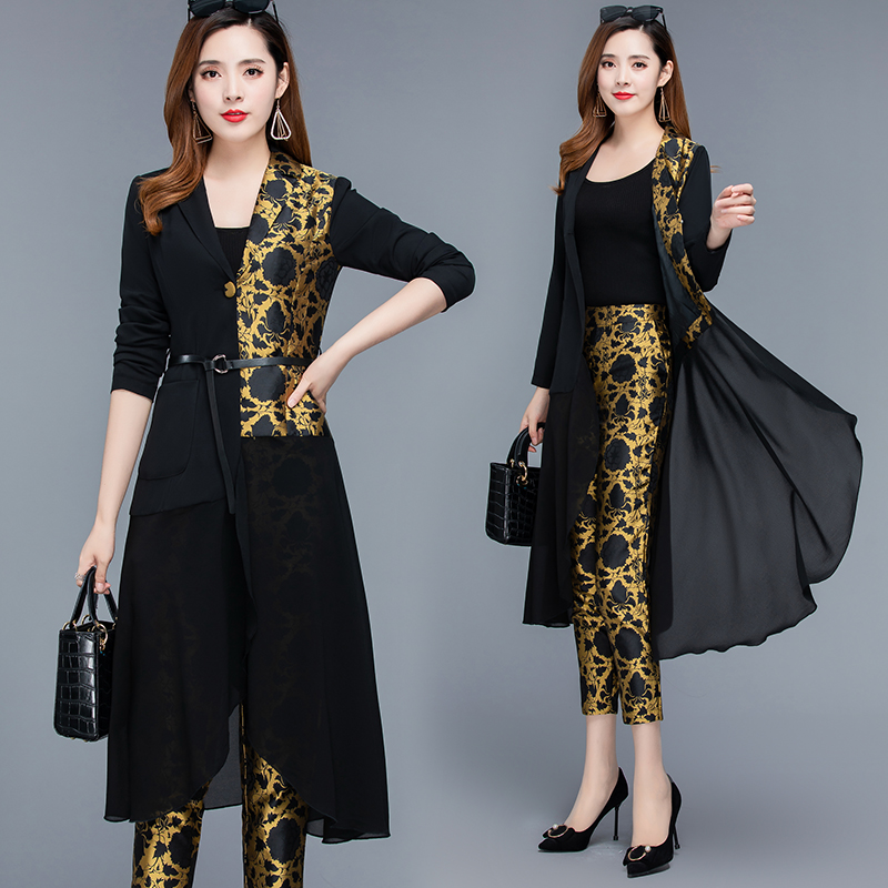 2019 Autumn Black Vintage Printed Two Piece Sets Outfits Women Plus Size Long Tops With Belt And Pants Suits Elegant Office Sets 36